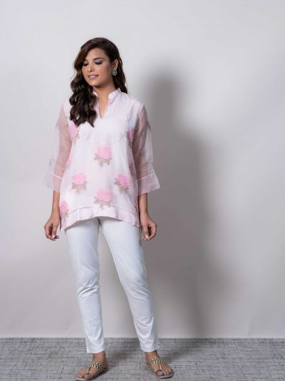 Dhaaga's Pink Embroidered Roses Organza Top