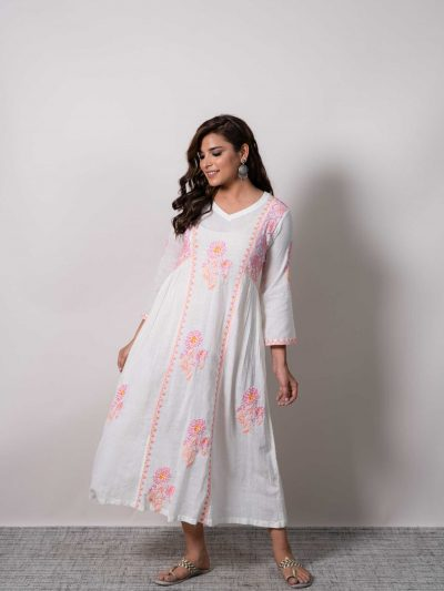 White Lucknowi Chikankari Pure Georgette Tunic Dress with Contrasting Embroidery