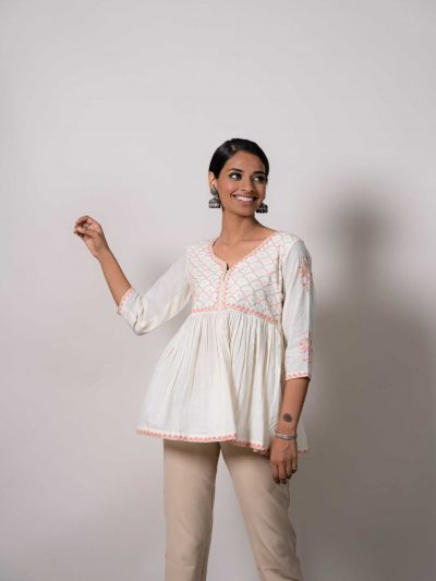 White Cotton Lucknowi Chikankari Top with Contrast Embroidery