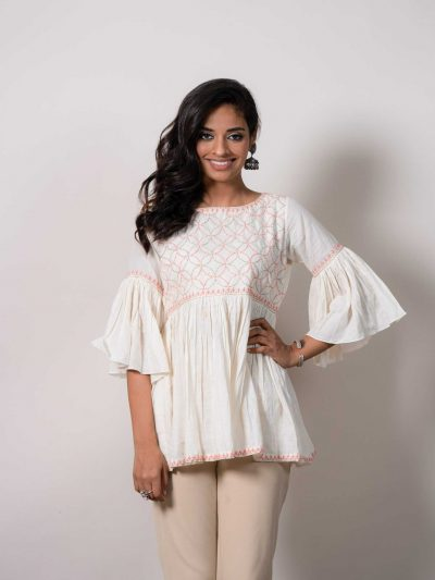 Dhaaga's White Cotton Lucknowi Chikankari Top with Contrast Embroidery
