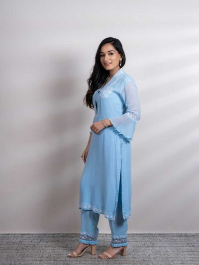 Blue Georgette Twin Set with Lucknowi Chikankari