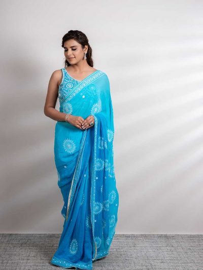Ombre Dyed Turquoise Blue Lucknowi Chikankari Saree with Beadwork and Aari Work