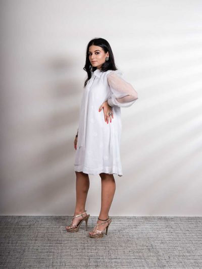 White Georgette Swing Dress with Lucknowi Chikankari and Balloon Organza Sleeves