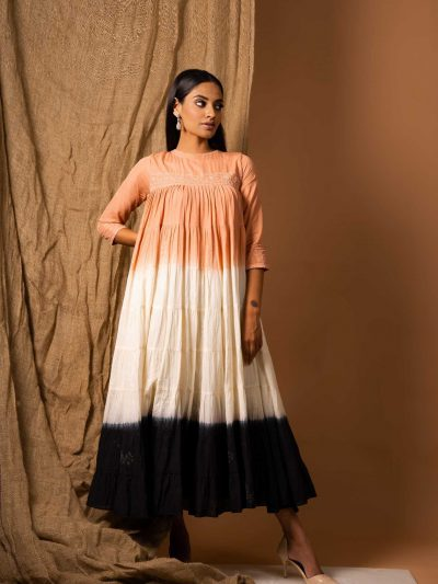 Coral, White and Black Shaded Tier Dress in Cotton Mul with Lucknowi Chikankari.