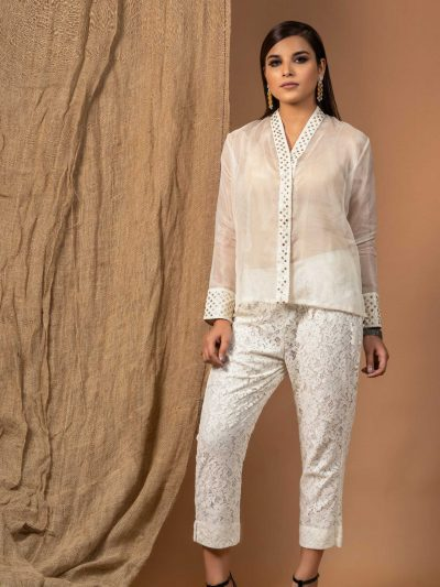 White Organza High Collar Shirt with Mukaish and Sequin Detail