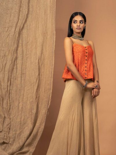 Beige Georgette Galaxy Pallzo Pants with Mukaish