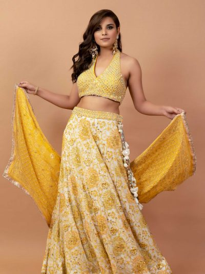 Pearl White Georgette Lucknowi Chikankari Lehanga with Yellow Bustier and Dupatta