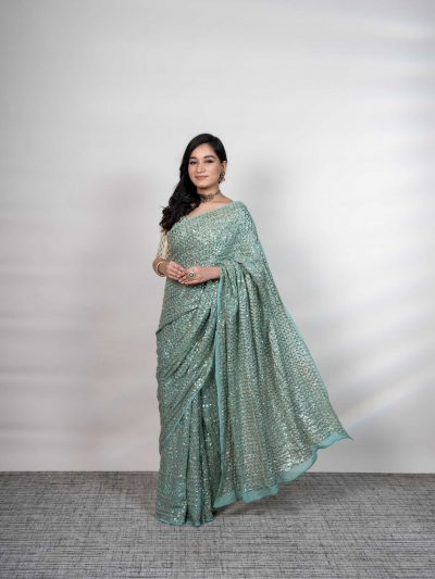 Dhaaga's Sea Green Pure Georgette Mukaish Saree with Pure Crepe Blouse