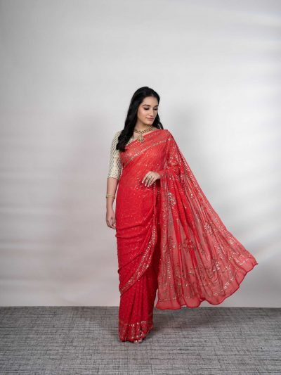 Red Pure Georgette Mukaish Saree with Blouse