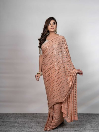 Dhaaga's Peach Pure Georgette Mukaish Saree with Blouse