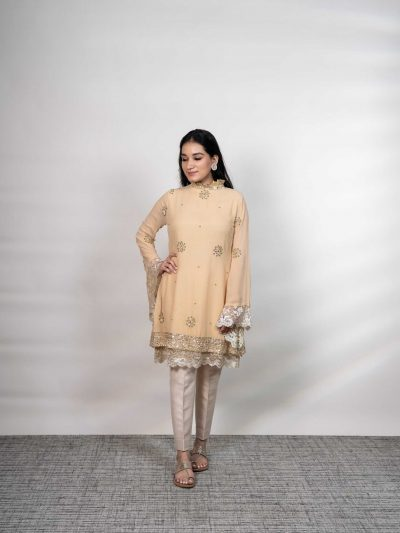 Beige Georgette Mukaish Bell Sleeve Top embellished with Green Beads