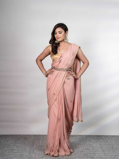 Rose Pink Georgette Mukaish Saree with a Gold Blouse and Zardozi Belt