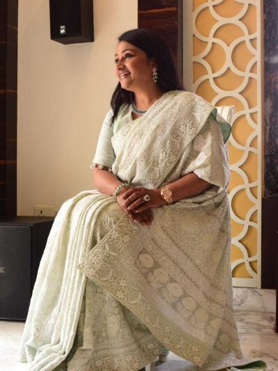 Dhaaga's Mint Green Pure Georgette Lucknowi Chikankari Saree with Blouse