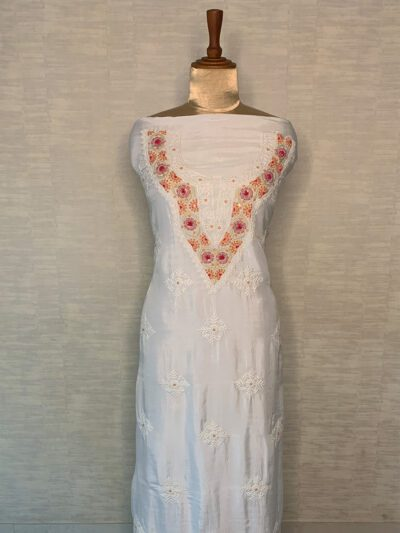WHITE SILK KURTA WITH COLORFUL EMBROIDERY