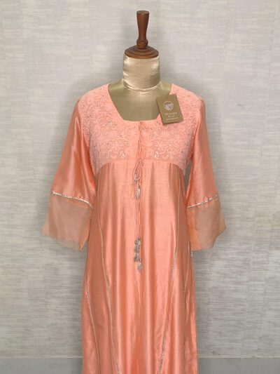 PEACH CHANDERI KURTI WITH FRONT LOOPS