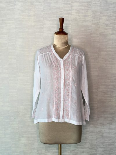 PEACH EMBROIDERED MUSLIN TOP WITH FULL SLEEVES