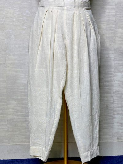 WHITE HAND WOVEN PLEATED PANTS