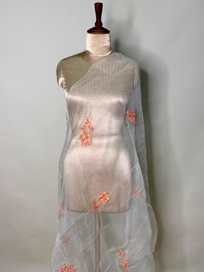 WHITE ORGANZA DUPATTA WITH COLORFUL EMBROIDERY