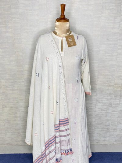 WHITE ANARKALI WITH PINK PANTS AND DUPATTA
