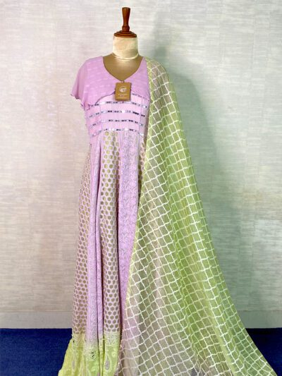 LAVENDER AND GREEN CUTWORK GOWN WITH DUPATTA
