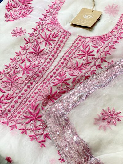 WHITE ORGANZA SUIT SET WITH PINK DETAILING
