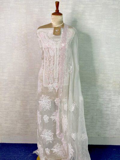 WHITE ORGANZA SUIT SET WITH LIGHT PINK DETAILING