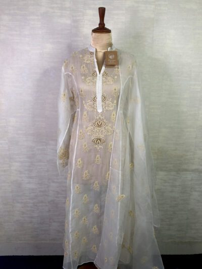 WHITE ORGANZA ANARKALI WITH GOLD DETAILING