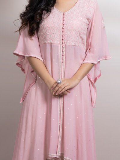 Baby Pink Asymmetrical Kurti with Flare