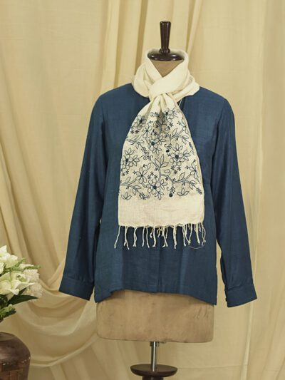 LINEN WHITE STOLE WITH BLUE CHIKANKARI EMBROIDERY