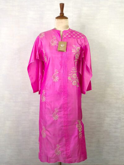 PINK SILK KURTI WITH GOLDEN EMBROIDERY