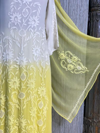 YELLOW AND WHITE OMBRE SUIT SET