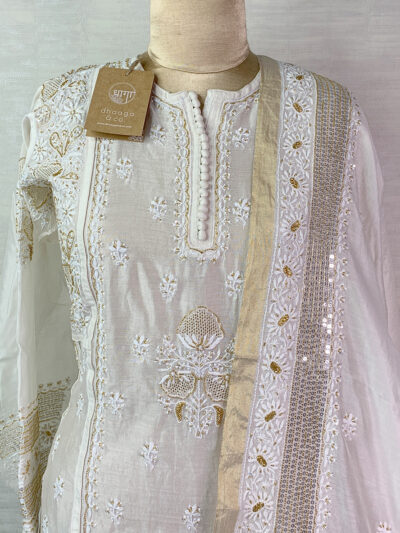 WHITE CHANDERI CUTDANA SUIT SET WITH SEQUINS