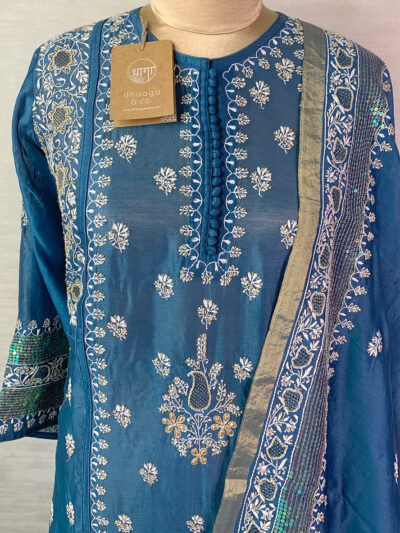 BLUE CHANDERI CUTDANA SUIT SET WITH SEQUINS